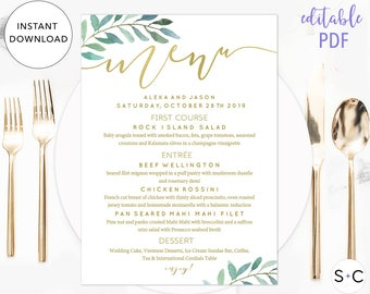 Gold Greenery Wedding Menu Template, Wedding Menu Template, Greenery Menu, Menu Template, Menu Printable, Floral Wedding Menu
