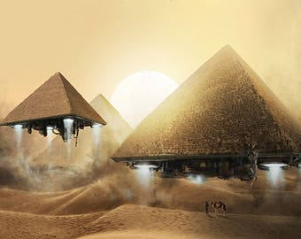Giza Pyramids Flying To Space - Ancient Egypt - Egyptian Art - Handmade Oil Painting On Canvas