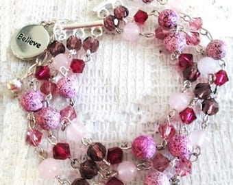 Jasper Quartz Crystal Bracelet with Charm