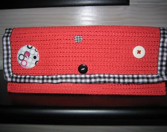 Red multi pouch uses recycled rubber, black/white gingham