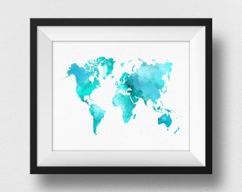 Watercolour World Map Print, World Map Poster, World Map Wall Art, World Map Art Work, Map Gift Kids Room Wall Art Decor (726)