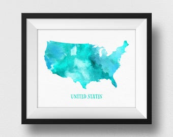 US Map Wall Art, United States Map Poster, USA Map Print, Map Of USA Wall Art, Home Decor, Watercolour Map, Kids Room Decor (731)