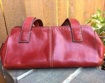 Vintage Fossil Red Leather Purse ZB9015