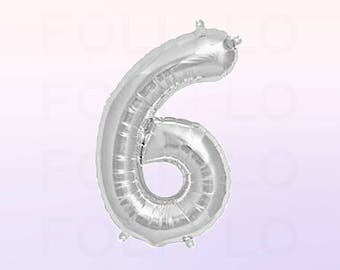 Metallic Silver Number 6 Balloon | Silver 6 Birthday Balloon | Silver Number 6 Balloon | Jumbo Number 6 Balloon