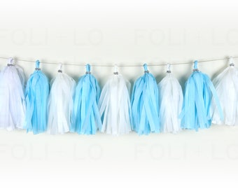 BABY BLUE Tassel Garland | Festive Garland | Pool Party Garland | Baby Garland | Nursery Garland | Birthday Garland | 15