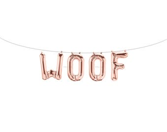 WOOF Rose Gold Letter Balloons | Metallic Letter Balloons | Rose Gold Party Decorations