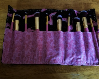 Makeup Brush Roll with Brushes