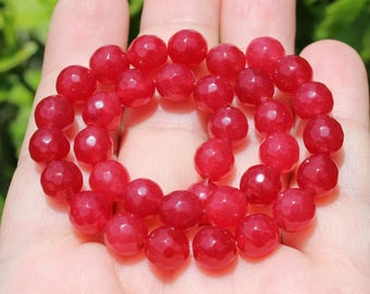 4 beads Ruby faceted round 8 MM AA29