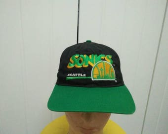 Rare Vintage SEATTLE SONICS Big Logo Embroidered Spell Out Cap Hat Free size fit all Made in USA