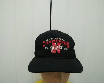 Rare Vintage NEBRASKA HUSKERS National Champions 94' Embroidered Spell Out Cap Hat Free size fit all