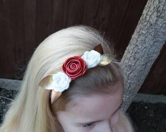 Flower,Christmas baby headband, glitter, white, red,bronze,gold, rose, gift, uk