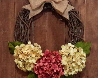 Hydrangea Wreath, Spring Wreath, Housewarming Gift, Cream Hydrangea Wreath, Pink Hydrangea Wreath