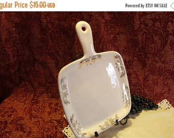Summer Sun Sale Iva-Lure by Crooksville Pottery Handled Square Serving Plate with Gold Art Deco Transfer Design