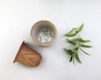 Tea Gift, Herbal Tea Gift, Hand made tea infuser, Pottery tea stariner
