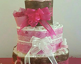 A pretty colored girl diaper cake pink