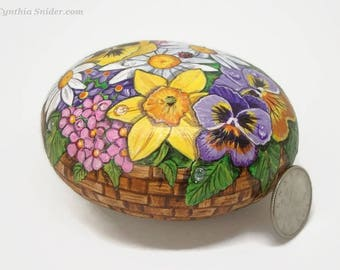 Painted rock,painted stone,flower rock,flowers in basket,daisy,pansy,daffodil,lady bug,floral painting,garden decor,Mothers Day,Easter gift