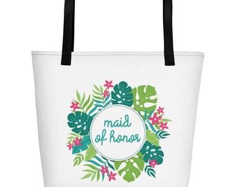 Maid of Honor Wedding Party Hawaiian Beach Bag