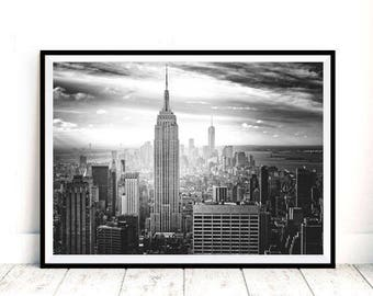 New York Print, Digital Download, Black And White Wall Art, Urban Photography, New York City, Empire State Building, Architecture Photograph