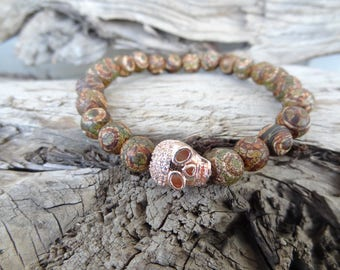 EXPRESS SHIPPING,Tibetan Agate Bracelet,Men's Skull Jewelry,18kt Rose Gold Filled Swarovski Elements,Gemstone Jewelry,Christmas Gifts