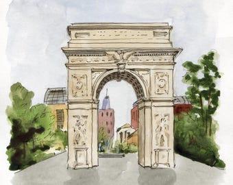 6x6 - Washington Square Park - Original Watercolor Painting