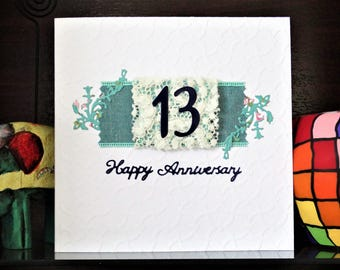 Handmade Greeting Card - 13th Wedding Anniversary Card - Lace Anniversary for 13 Years of Wedded Bliss