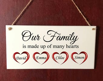 Beautiful DELUXE Handmade Personalised Plaque Our Family Hearts Gift Sign Present Chic