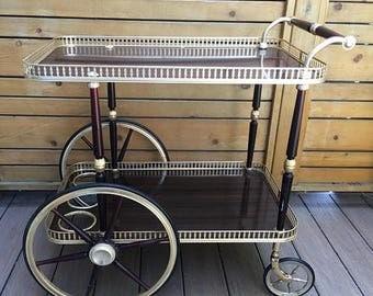 Christmas Sale Stunning Mid century brass bar cart. Hollywod Regency Coctail serving cart. Mary PoppinsTea cart. 2 tier brass serving caddy.