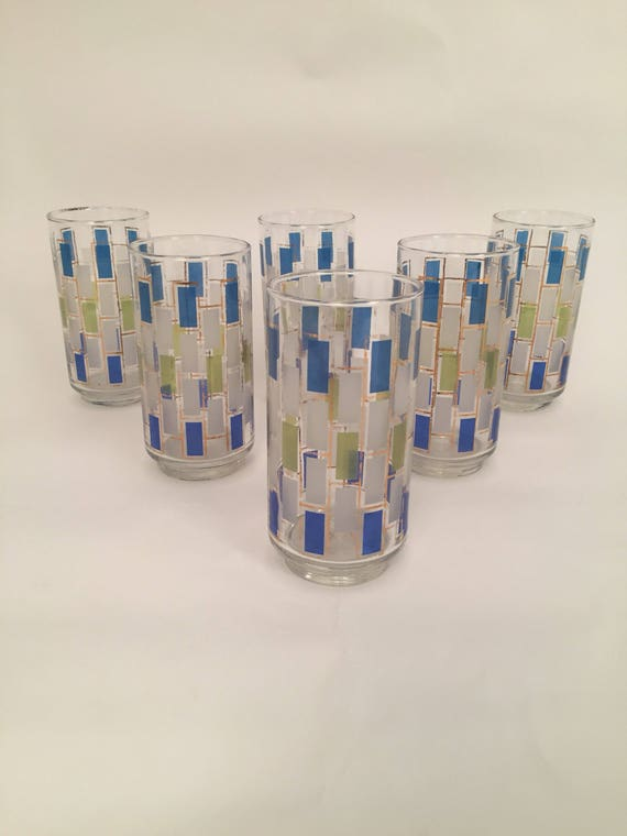 Beautiful 70's set of 6 Mid-Century Highball drinking glasses