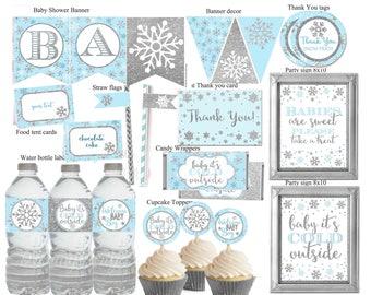 Winter Wonderland Baby Shower Decorations, Winter Baby Shower Decor, Blue  And Silver Winter Shower