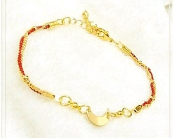 16k Gold Plated Brass,  Lacquer Coated Brass Bracelet With A New Moon, Dainty