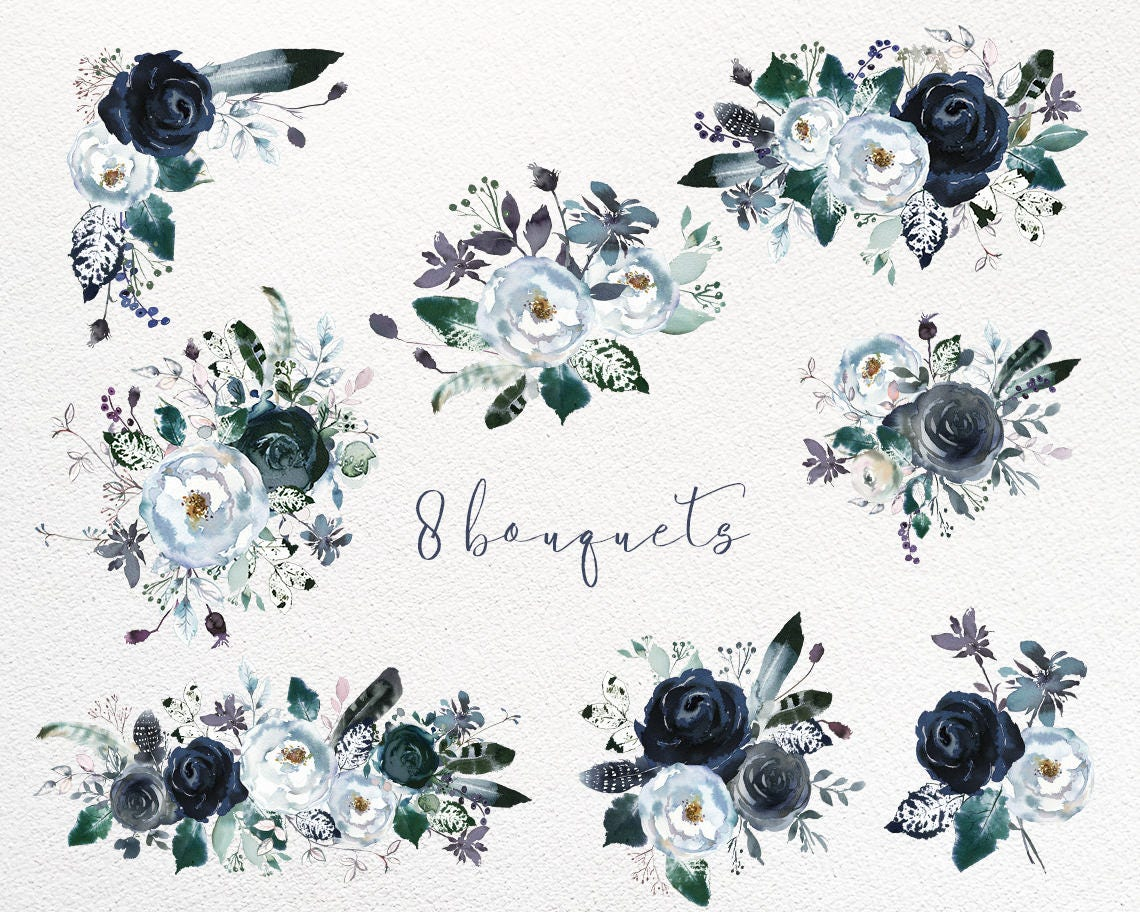 Navy Blue White Peonies Roses Watercolor Boho Floral ...