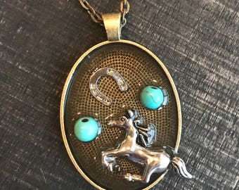 horse necklace, horse jewelry, pendant necklace, western necklace, equestrian gift, girl horse gift, rodeo necklace, horse lover gift