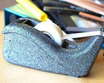Gunmetal Glitter Tape Dispenser, Grey Glitter Stapler. Office Supplies, Glitter Office Supplies, Tape Dispenser, Decorative Tape Dispenser