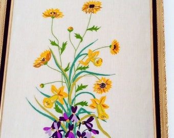 Large and exceptional fine flower entirely handmade embroidery on canvas linen custom framing