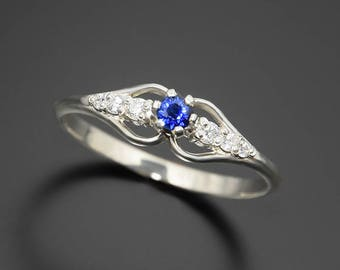 Art deco ring, Antique ring, Sapphire ring, Blue sapphire ring, Engagement ring, Women engagement ring, Sapphire engagement ring