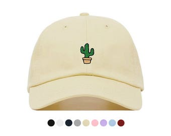 Cactus Embroidered Dad Cap, Unstructured Low-Profile Baseball Hat, Adjustable Strap Back, One Size (Multiple Colors)