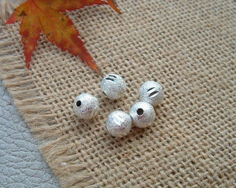 set of 5 8 mm Ciselees Depolies silver STARDUST beads