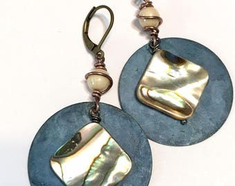 Abalone earrings blue