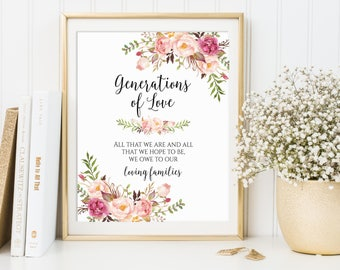 Generations of Love, Wedding Sign, All That We Are And Hope To Be We Owe To Our Parents, Family Thank You Sign, Ceremony Signs, C1