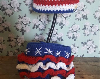 Red white & blue hat and diaper cover set