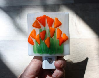 Orange Flowers Fused Glass Night Light