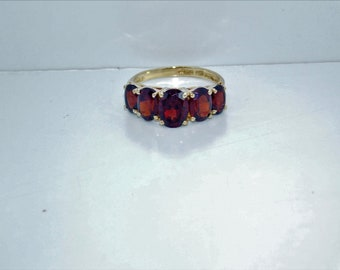 10K Yellow Gold Ring With 5 Ruby Red Stones