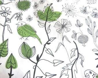Fabric cotton birds 150 x 60 cm