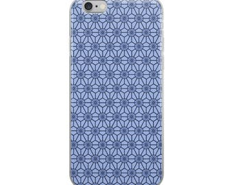 Blue pattern iPhone case, Japanese Asian star woodblock design