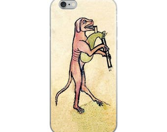 Funny medieval iPhone case, musical dog from Middle Ages illuminated manuscript; great for music or dog lovers!