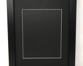 "22x28 1.25"" Black Solid Wood Picture Frame with Black Mat Cut for 18x24 Picture"