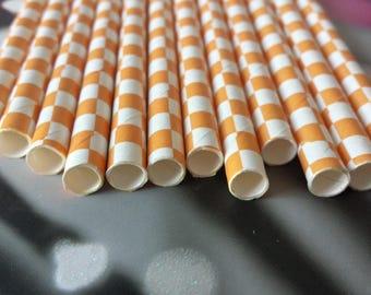 Set of 12 straws color orange white squares