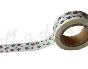 A Washi tape 10 m / washi tape (masking tape) Star 1.5 cm x 10 m