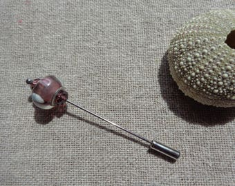 PIN brooch rose pin brooch pink glass bead in glass