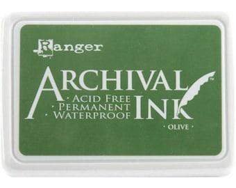 Ranger Archival Ink Olive Green - Green Ink - Green Archive Ink - Ranger Green Ink - Permanent Green Ink - Waterproof Ink